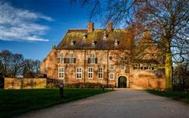 Aperçu fond d'écran Château de Hernen, Pays-Bas, arbres, route
