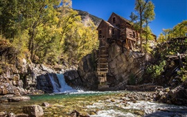 House, water mill, waterfall, trees, stones