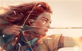 Aperçu fond d'écran Chasseur, fille, cheveux roux, arc, dessin d'art