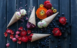Preview wallpaper Ice cream, flowers, blueberries