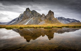 Iceland, East Horn, river, mountain, water reflection