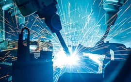 Preview wallpaper Industrial, robotic welders, sparks, glare