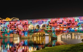 Preview wallpaper Italy, Florence, bridge, painting, graffiti, river, night