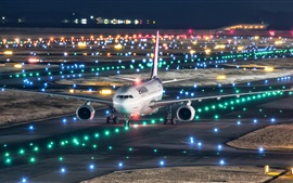 Preview wallpaper Japan, Kansai international airport, Airbus A330-200 plane flight, night