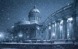 Preview wallpaper Kazan Cathedral, Saint Petersburg, winter, snow, promenade, Russia