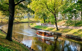Latvia, Riga, river, boat, park, trees