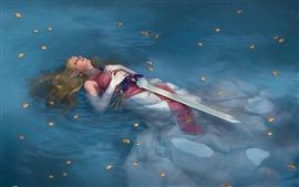 Preview wallpaper Legend of Zelda, girl lying in water, sword, art picture