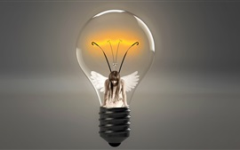 Preview wallpaper Light bulb, angel, girl, wings, creative picture