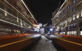Preview wallpaper Light lines, city, street, London, England