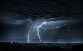 Preview wallpaper Lightning, dark clouds, night