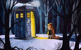 Preview wallpaper Little girl in the winter, night, forest, lights, art painting
