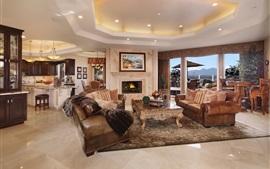 Sala de estar, lareira, sofá, móveis