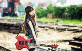 Preview wallpaper Long hair Asian girl, guitar, music