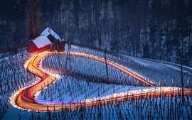 Preview wallpaper Love heart, road, snow, house, night, light lines