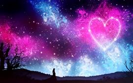 Amor coração, céu, estrelado, noite, menina, silhueta, linda imagem