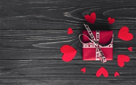 Preview wallpaper Love hearts and gift, wood background