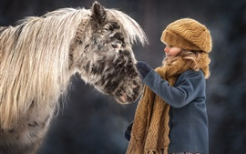 Preview wallpaper Lovely little girl and pony