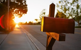 Preview wallpaper Mailbox, road, sun rays