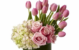 Preview wallpaper Many flowers, hydrangea, lilac, roses, tulips