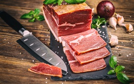 Preview wallpaper Meat, knife, cutting