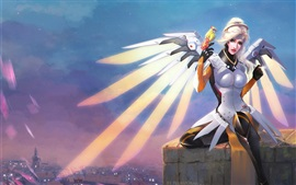 Preview wallpaper Mercy, Overwatch, Blizzard game, wings, parrot