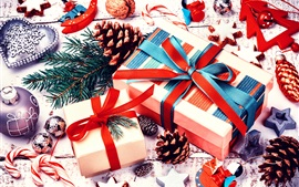 Preview wallpaper Merry Christmas, decoration, gifts, balls, cookies, candy