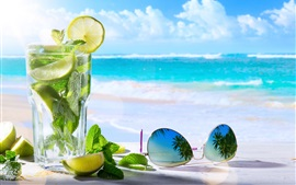 Preview wallpaper Mojito, lemon, mint, sunglasses, sea