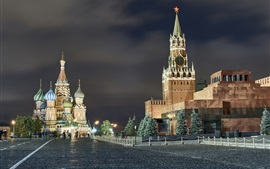 Preview wallpaper Moscow at night, city, Red Square, lights, Russia