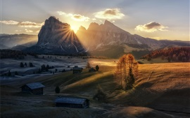Mountains, valley, morning, sun rays, houses, trees