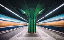 Preview wallpaper Munich, Bavaria, Germany, metro, lights lines, speed