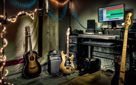 Preview wallpaper Music Studio, guitar, speaker, computer, lights