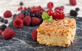 Preview wallpaper Napoleon cake, berries
