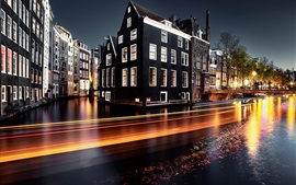 Preview wallpaper Netherlands, Amsterdam, river, light lines, night