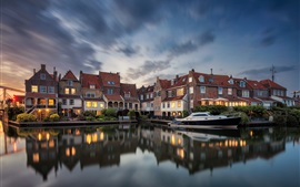 Preview wallpaper Netherlands, Enkhuizen, houses, lights, river, yacht, dusk