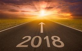 New Year 2018, road, arrow, sun rays
