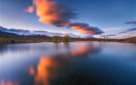 Preview wallpaper New Zealand, lake, trees, mountains, clouds, dusk