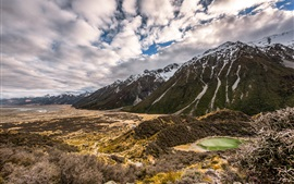 Preview wallpaper New Zealand, mountains, clouds, nature landscape