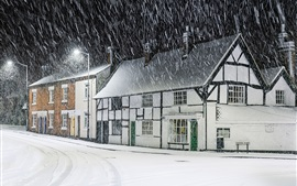 Night, houses, snowy, road lights, winter