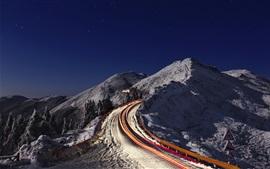 Night, mountain, light lines, starry