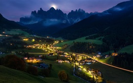 Preview wallpaper Night, village, lights, trees, mountains, Alps