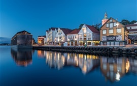Preview wallpaper Norway, Stavanger, Rogaland, houses, river, lights, evening