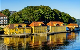 Preview wallpaper Norway, river, trees, houses, pier