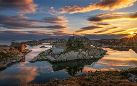 Norway, rocks, houses, lake, sunset, clouds