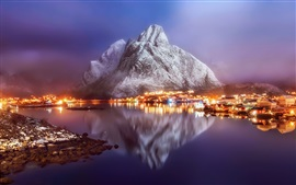 Norway, town, village, fjord, city night, lights, snow, water reflection