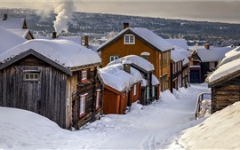 Norway, village, winter, houses, thick snow