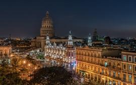 Старая Гавана, Куба, ночь, город, огни, здания