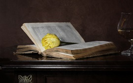 Preview wallpaper Old book, yellow rose