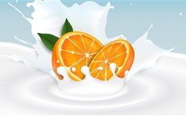 Preview wallpaper Orange slice, milk, splash