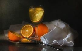 Апельсины, стеклянная чашка, напитки, фрукты, нож, ткань