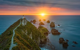 Preview wallpaper Otago, Pacific Ocean, sea, lighthouse, sunrise